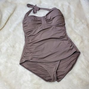 Tommy Bahama Halter One Piece Taupe Swimsuit 16